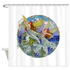 Djer Kiss Art Deco Sea Fairies Shower Curtain