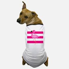 Pink Flamingo Stripes Dog T-Shirt