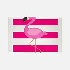 Pink Flamingo Stripes Magnets