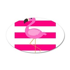 Pink Flamingo Stripes Wall Decal