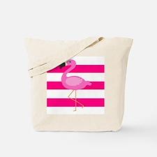 Pink Flamingo Stripes Tote Bag
