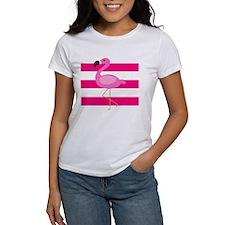 Pink Flamingo Stripes T-Shirt