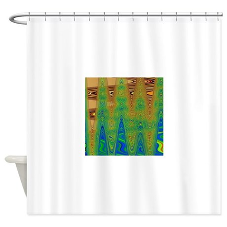 abstract brown blue green shower curtain by ras7