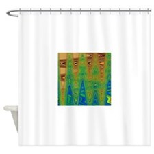 Abstract Brown Blue Green Shower Curtain