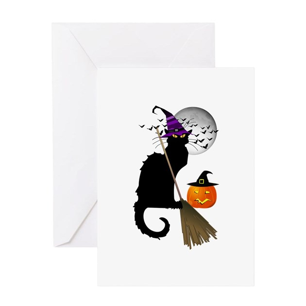 le chat noir halloween witch greeting cards by admin. Black Bedroom Furniture Sets. Home Design Ideas