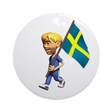 Sweden Boy Ornament (Round)