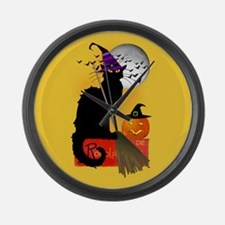 Le Chat Noir - Halloween Witch Large Wall Clock