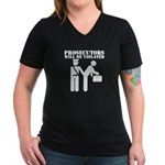 Prosecutors will be Violated Women's V-Neck Dark T
