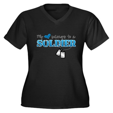 My heart belongs to a Soldier Women's Plus Size V-
