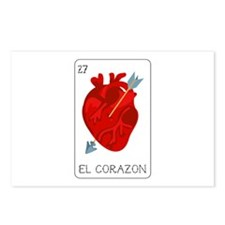 El Corazon Loteria Card Postcards (Package of 8)