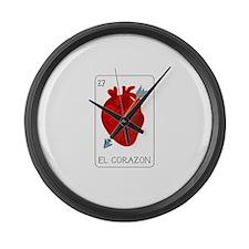 El Corazon Loteria Card Large Wall Clock