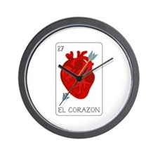 El Corazon Loteria Card Wall Clock