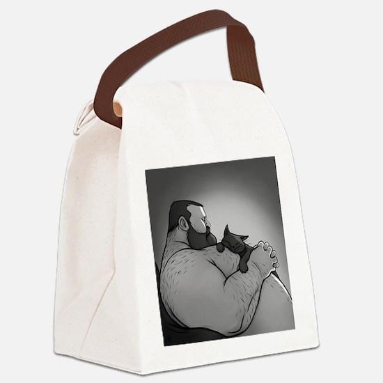bear cat Canvas Lunch Bag