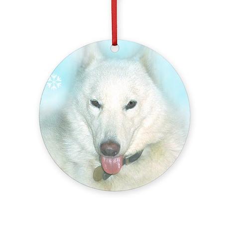 Snow Dog Ornament (Round)