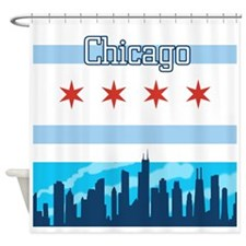 Chicago Flag City Skyline Shower Curtain
