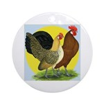 Red Quill Chickens Ornament (Round)
