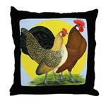 Red Quill Chickens Throw Pillow