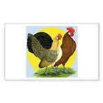 Red Quill Chickens Rectangle Sticker