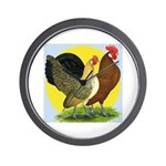 Red Quill Chickens Wall Clock