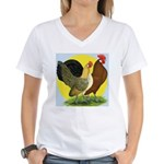 Red Quill Chickens Women's V-Neck T-Shirt