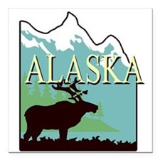 "Alaska Square Car Magnet 3"" x 3"""