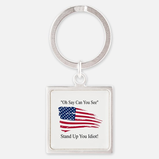 Oh Say Can You See Flag Square Keychain Keychains