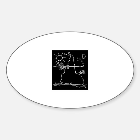 Earth Upside Down Sticker (Oval)
