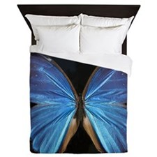 Elegant Blue Butterfly Queen Duvet