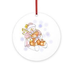Snowman with Teddy Bear Ornament (Round)