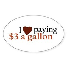 I Love Gas Prices Oval Decal