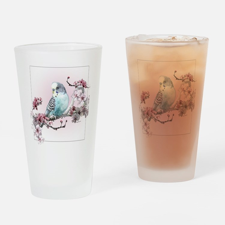 Parakeet And Cherry Blossoms - Drinking Glass