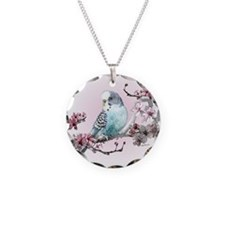 Parakeet And Cherry Blossoms Necklace Circle Charm