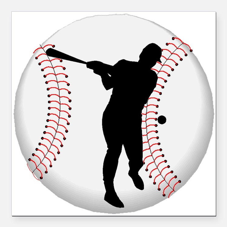 """Baseball Batter Silhouette Square Car Magnet 3"""" x"""