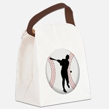 Baseball Batter Silhouette Canvas Lunch Bag