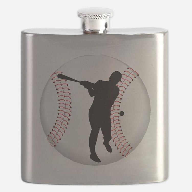 Baseball Batter Silhouette Flask