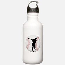 Baseball Batter Silhouette Water Bottle