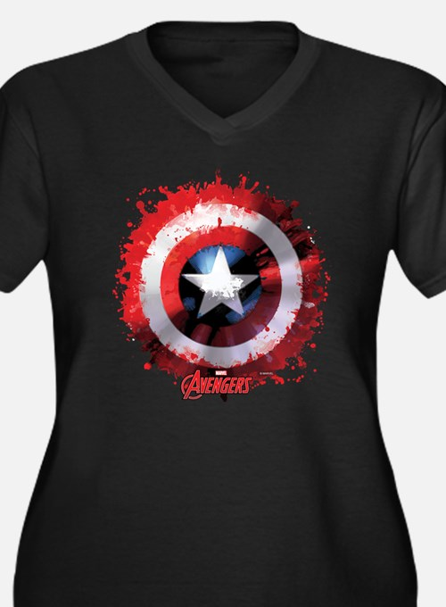 Cap Shield S Women's Plus Size V-Neck Dark T-Shirt