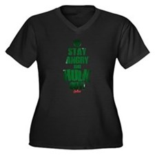 Stay Angry a Women's Plus Size V-Neck Dark T-Shirt