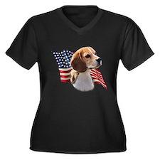 Beagle Flag Women's Plus Size V-Neck Dark T-Shirt