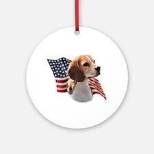 Beagle Flag Ornament (Round)