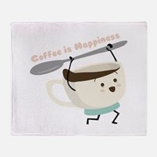 Coffee Is Happiness Throw Blanket