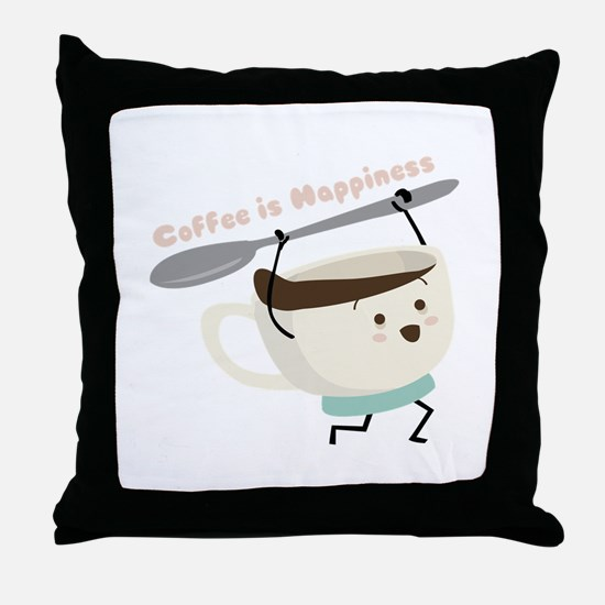 Coffee Is Happiness Throw Pillow