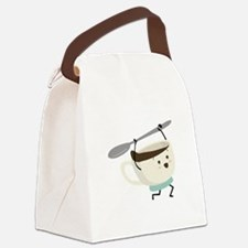 Happy Coffee Cup Canvas Lunch Bag