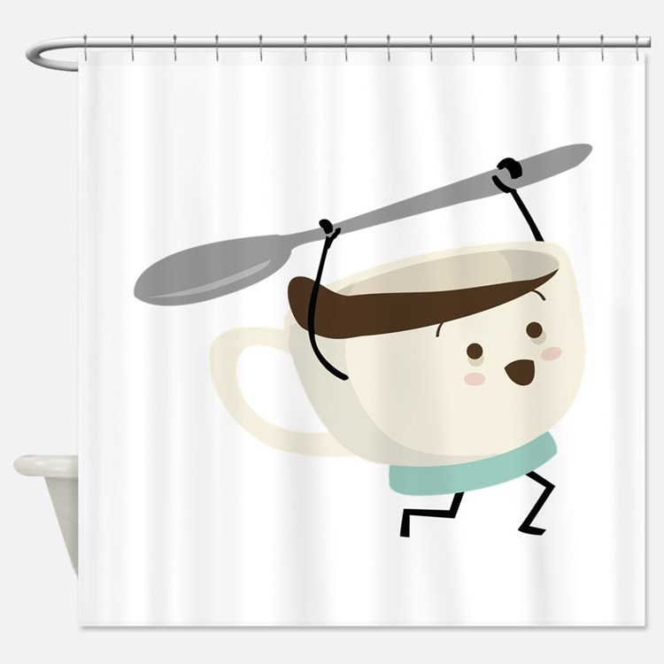 Happy Coffee Cup Shower Curtain