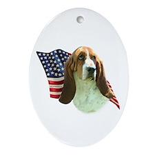 Basset Flag Oval Ornament