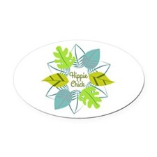 Hippie Chick Oval Car Magnet