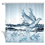 Water Splash Bird And Fish Shower Curtain