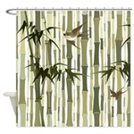 Bamboo And Birds Shower Curtain