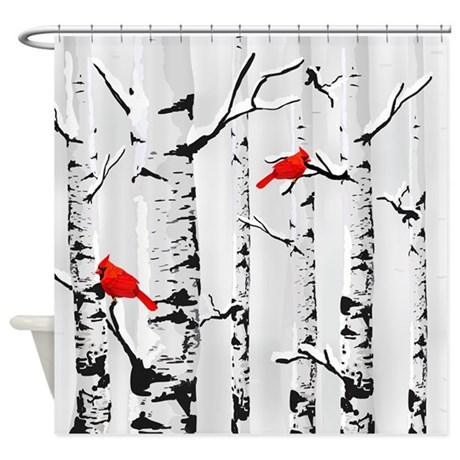 Winter Birch Trees And Cardinals Shower Curtain by getyergoat
