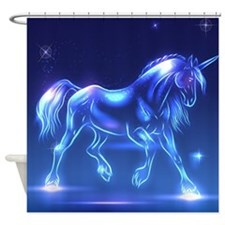 Glass Unicorn Fantasy Blue Shower Curtain